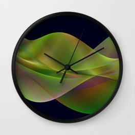 Rainbow reflection in a green wave Wall Clock