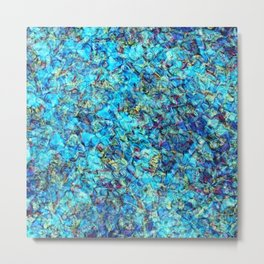 Turquoise Pebble Pool Ripple Metal Print