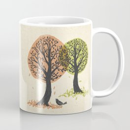 Autumn Is For The Birds Stamped Linocut Coffee Mug