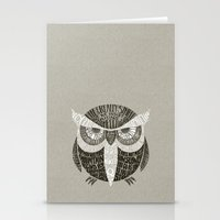 sayings Stationery Cards featuring Wise Old Owl Says by littleclyde