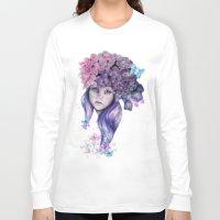 hydrangea Long Sleeve T-shirts featuring Hydrangea by Sheena Pike Art & Illustration