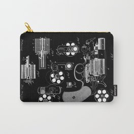 1881 Revolver Patent - White on Black Carry-All Pouch