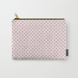 Taupe Polka Dots on Pink Carry-All Pouch