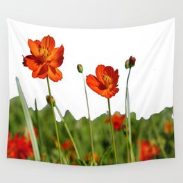 Red Cosmos Flower In A Meadow Isolated on White Wall Tapestry