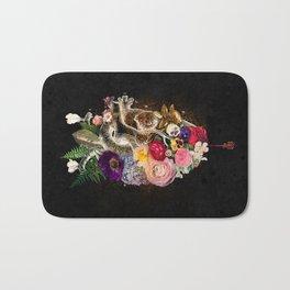 Dark Flower Heart :: Fine Art Collage Bath Mat