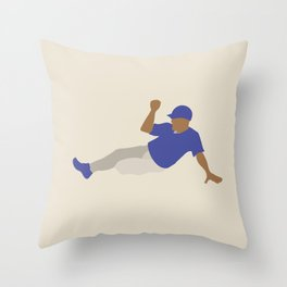 Baseball Player in Blue Sliding into Base, Flat Graphic Throw Pillow
