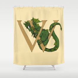 Dragon Letter W sans Roses Shower Curtain