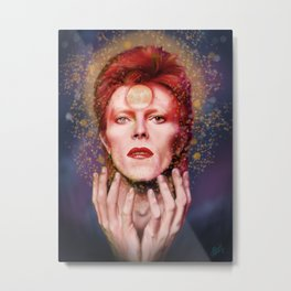 David Bowie Glitter Portrait Metal Print