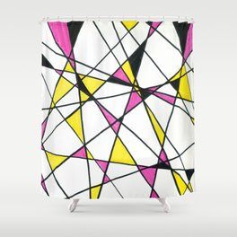 Geometric Neon Triangles - Pink, Yellow & Black Shower Curtain