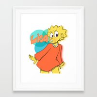 simpson Framed Art Prints featuring Lisa Simpson by Burgandy Balloons