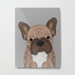 Brown Frenchie Puppy 001 Metal Print
