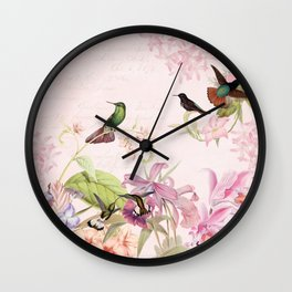 Vintage & Shabby Chic - Blush Tropical Hummingbird Flower Garden Wall Clock