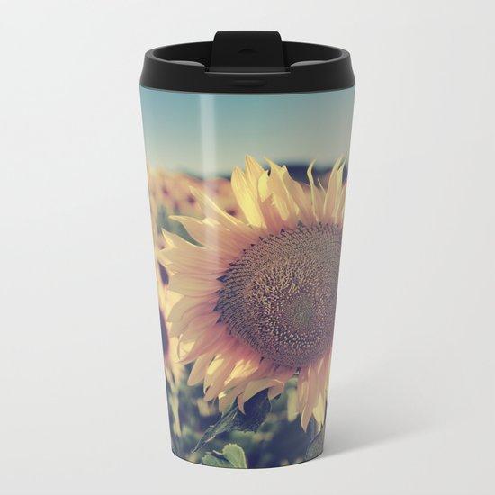 """""""Sunflowers"""" Vintage dreams Metal Travel Mug"""
