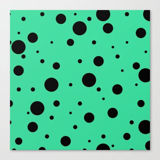 Black Bubbles On Green Canvas Print