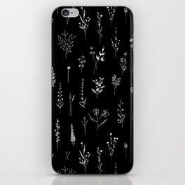 Black wildflowers iPhone Skin