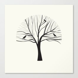 Black Birds in a Winter Tree Canvas Print