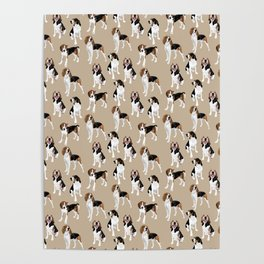 Treeing Walker Coonhounds on Tan Poster