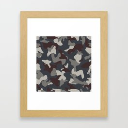 Grey Blue army camo camouflage pattern Framed Art Print