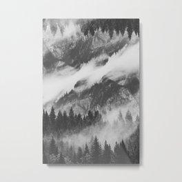 Misty Mountain B&W Metal Print