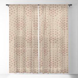 Cavern Clay SW 7701 Polka Dot Scallop Fan Pattern on Ligonier Tan SW 7717 Sheer Curtain