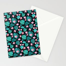 Tropical teal pink black vector floral pattern Stationery Cards