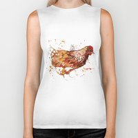 chicken Biker Tanks featuring Chicken by libby's art studio
