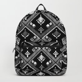 Abstract ethnic ornament. Black background 3. Backpack
