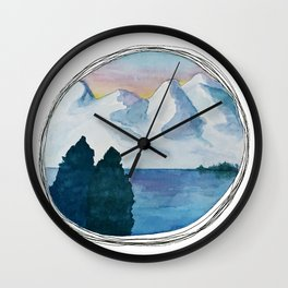 Spanish Snowy Mountains over the River Wall Clock