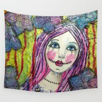 pastel goth Wall Tapestries featuring Goth Girl by Krazy Island Studios