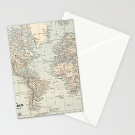 Vintage Map of The World (1893) Stationery Cards