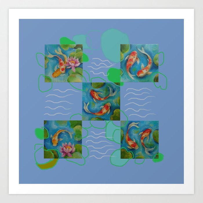 Koi Fish Pop Art Collage With Original Paintings Art Print By Canisart