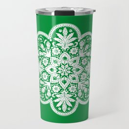 Floral Doily Pattern | Green and White Travel Mug