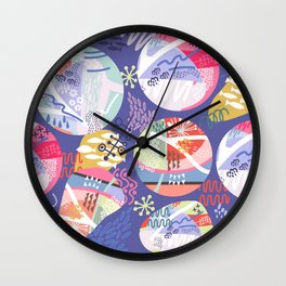 Abstract violet pink blue geometrical whimsical Wall Clock