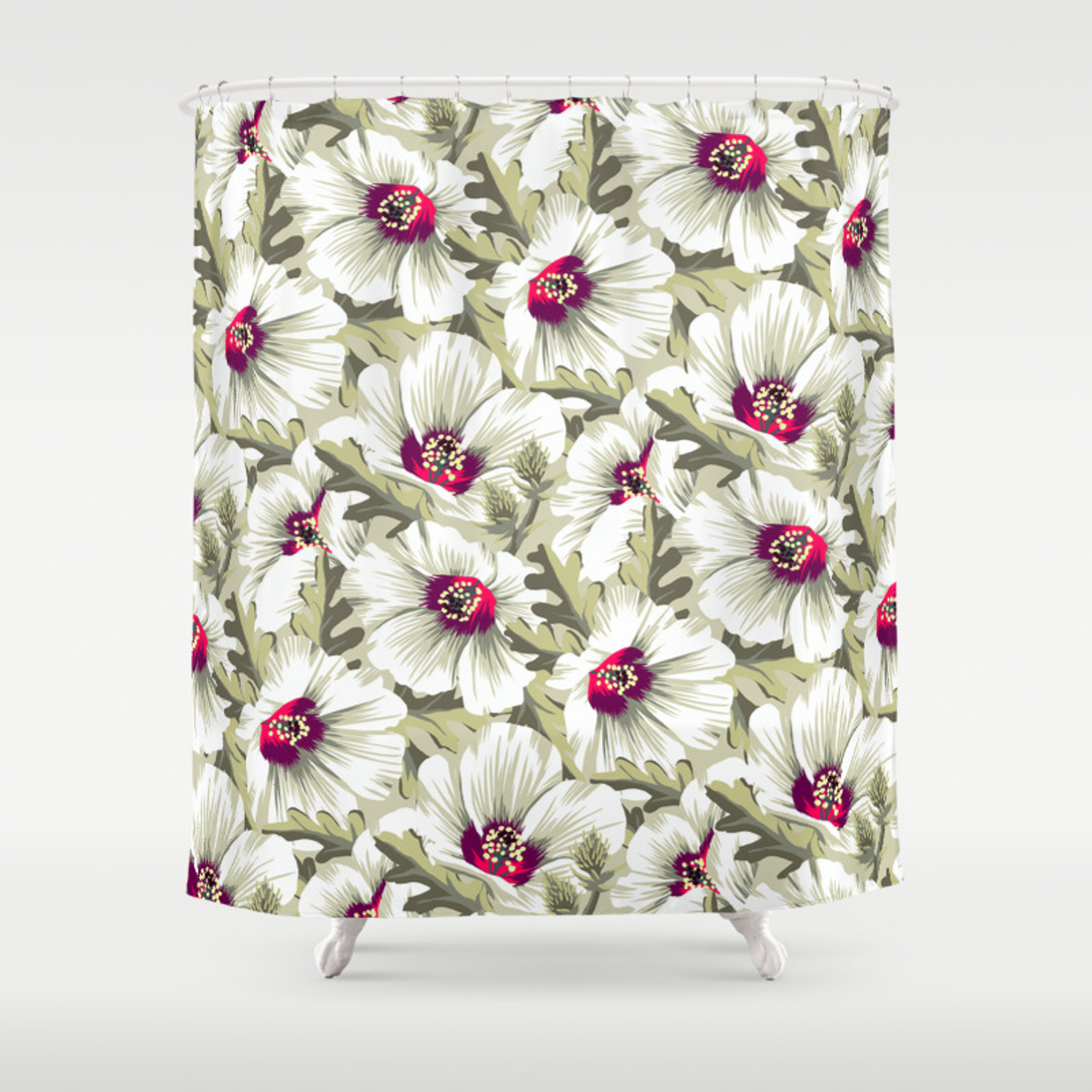 New Zealand Hibiscus Floral Print Day Shower Curtain