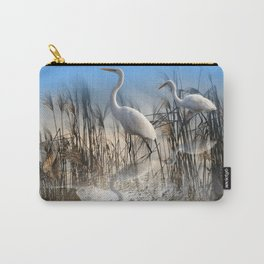 White Egrets in a Morning 1 Carry-All Pouch