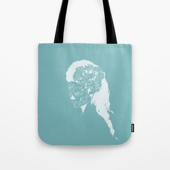 Skull Just White on Blue Tote Bag