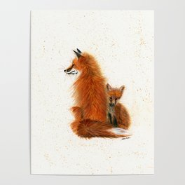 Fox Mama and Kit - animal watercolor painting of fox mother and baby Poster
