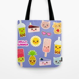 Hello Summer. Pineapple, cherry smoothie cup, ice cream, sun, cat, cake, hamster. Kawaii cute face. Tote Bag