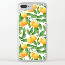Watercolor Tangerines Pattern Clear iPhone Case