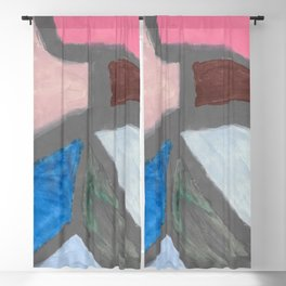Color Divide Blackout Curtain