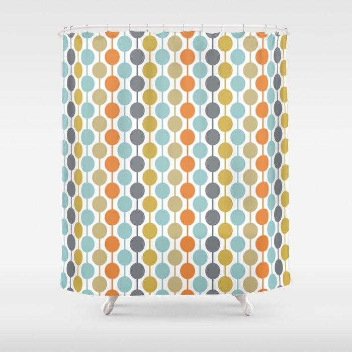 Retro Circles Mid Century Modern Background Shower Curtain