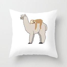 Cute & Funny Sleepy Sloth & Llama Throw Pillow