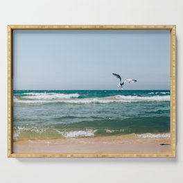 Gull Flight Over Lake Michigan Serving Tray