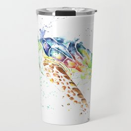 Sea Turtle Colorful Watercolor Painting Travel Mug