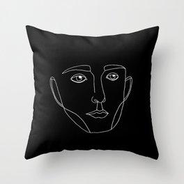 Visage noir & blanc Throw Pillow