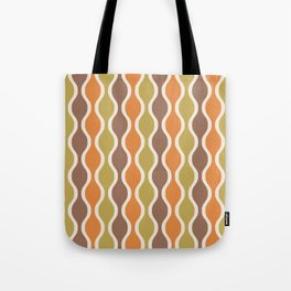 Classic Retro Ogee Pattern 846 Orange Brown and Olive Tote Bag