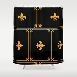 Gold And Black Shower Curtain