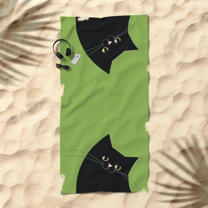 Black Cat and Color of the Year 2017, Greenery Beach Towel