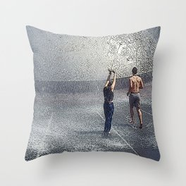 Fountain Folks Throw Pillow