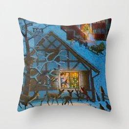 Un village à la montagne Throw Pillow